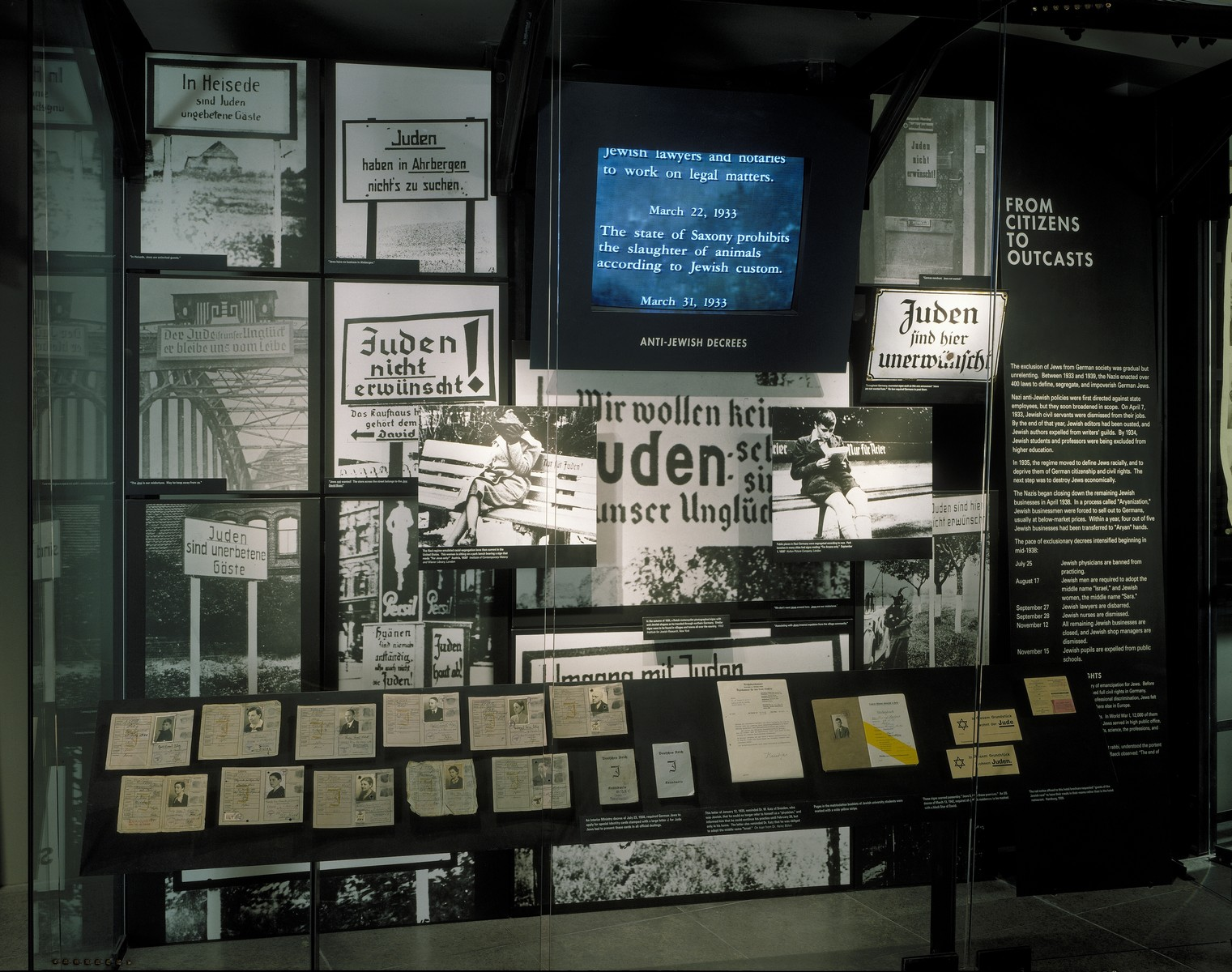 "View of the ""From Citizens to Outcasts"" display on the fourth floor of the permanent exhibition at the U.S. Holocaust Memorial Museum."