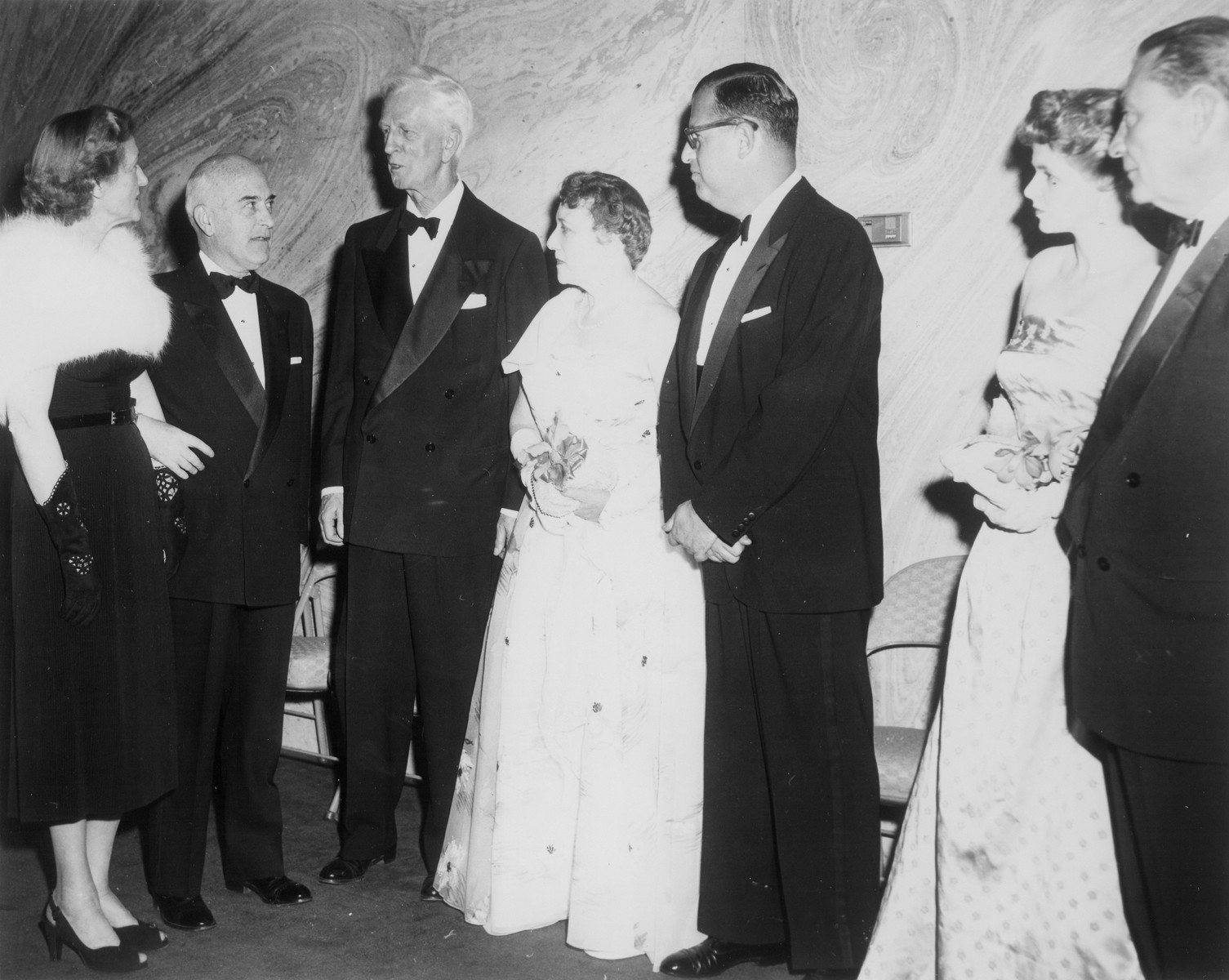 Israeli ambassador to the U.S. Abba Eban attends an affair in Washington, D.C.  Pictured from left to right are: unknown, unknown, James G. McDonald, Mrs. John Safer, Abba Eban, Mrs. Eban, and Abraham S. Kay.