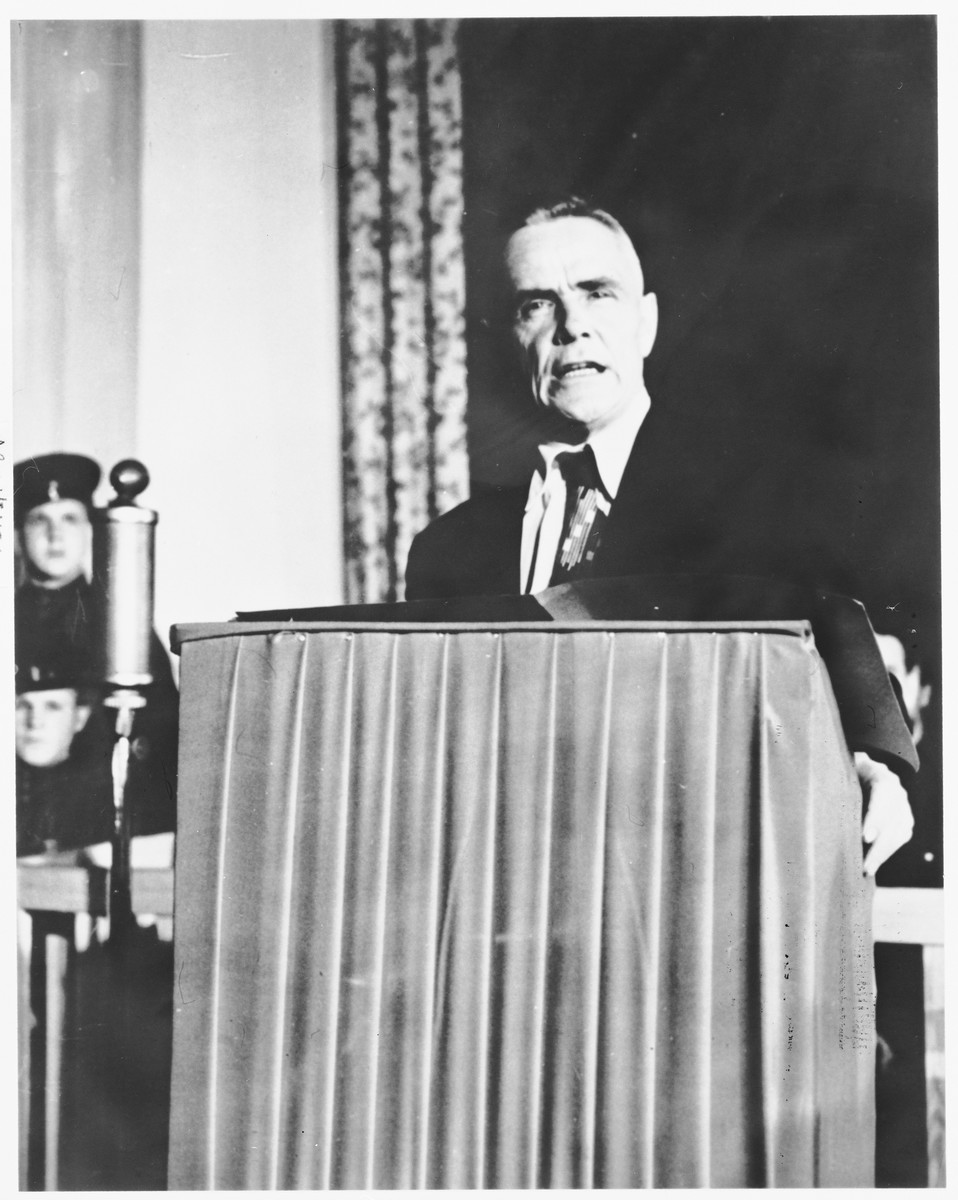 A member of the defense team speaks at the Sachsenhausen concentration camp war crimes trial in Berlin.