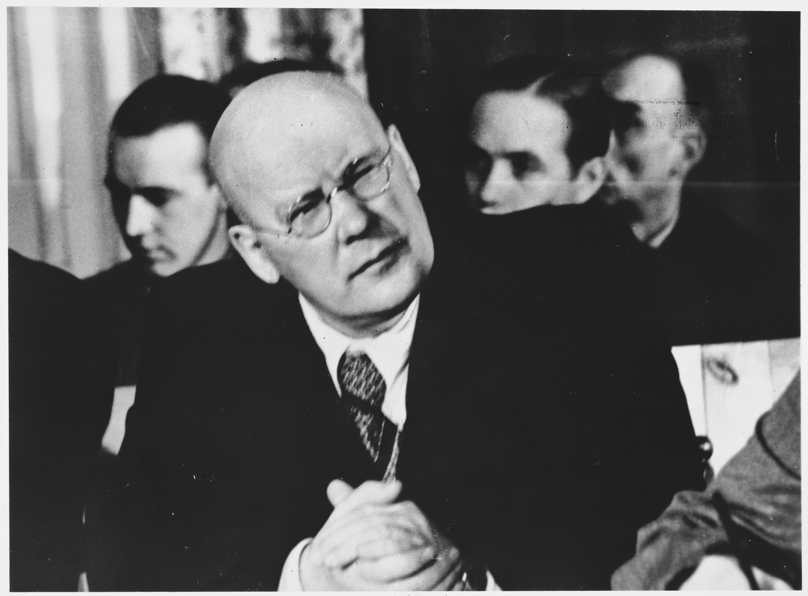 A member of the defense team at the Sachsenhausen concentration camp war crimes trial in Berlin.