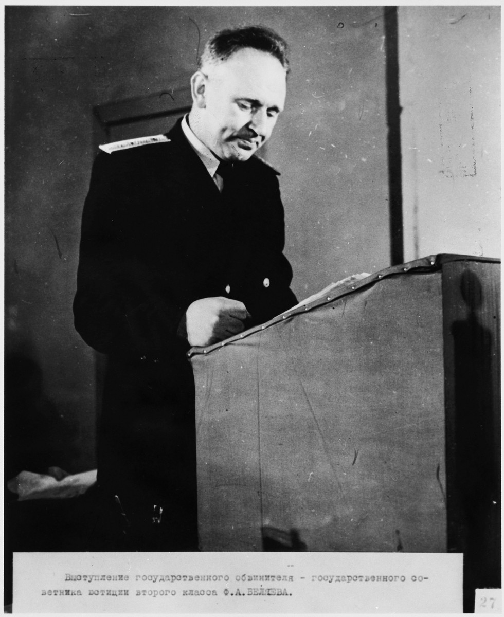 A lawyer for the prosecution at the Sachsenhausen concentration camp war crimes trial in Berlin.