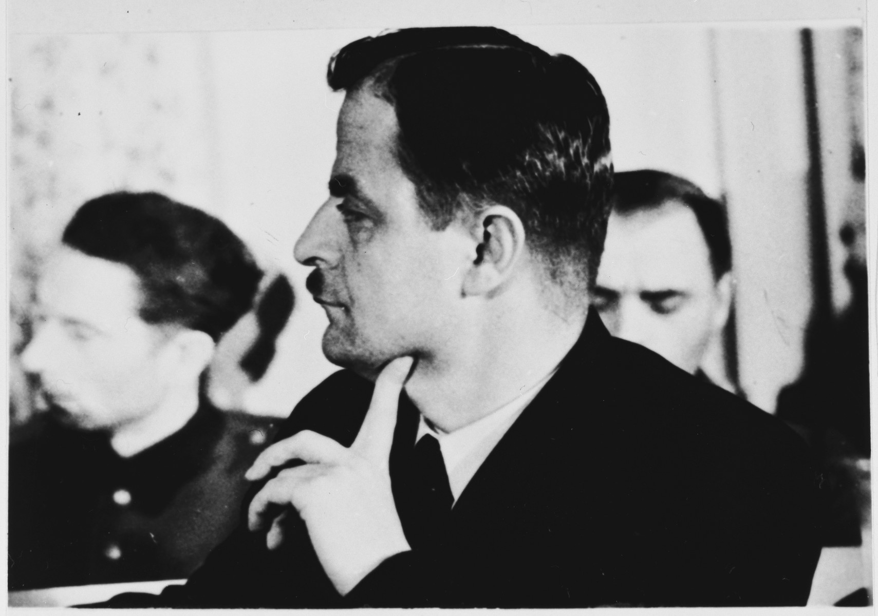 A lawyer for the defense at the Sachsenhausen concentration camp war crimes trial in Berlin.
