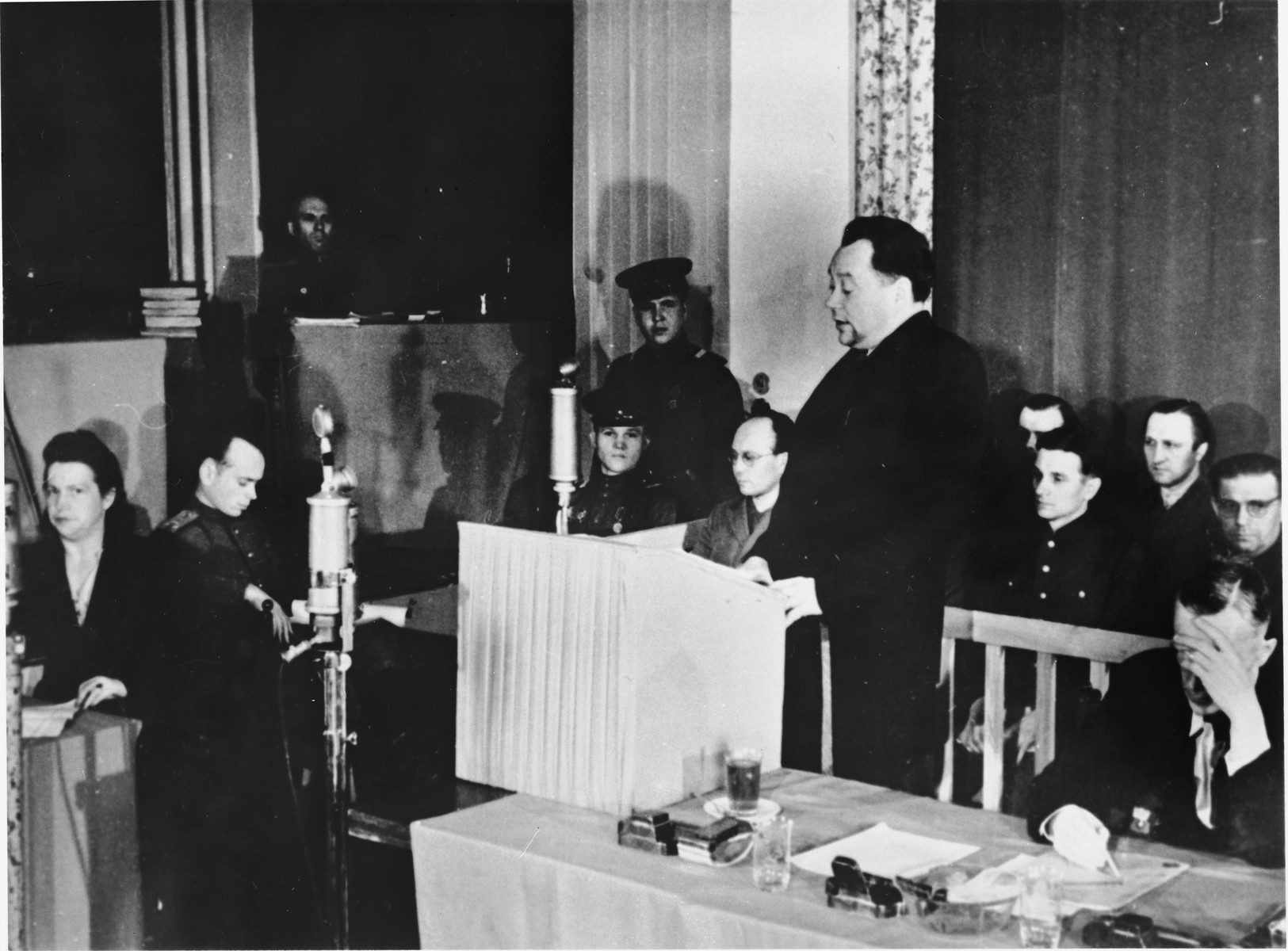 A member of the defense counsel speaks at the Sachsenhausen concentration camp war crimes trial in Berlin.