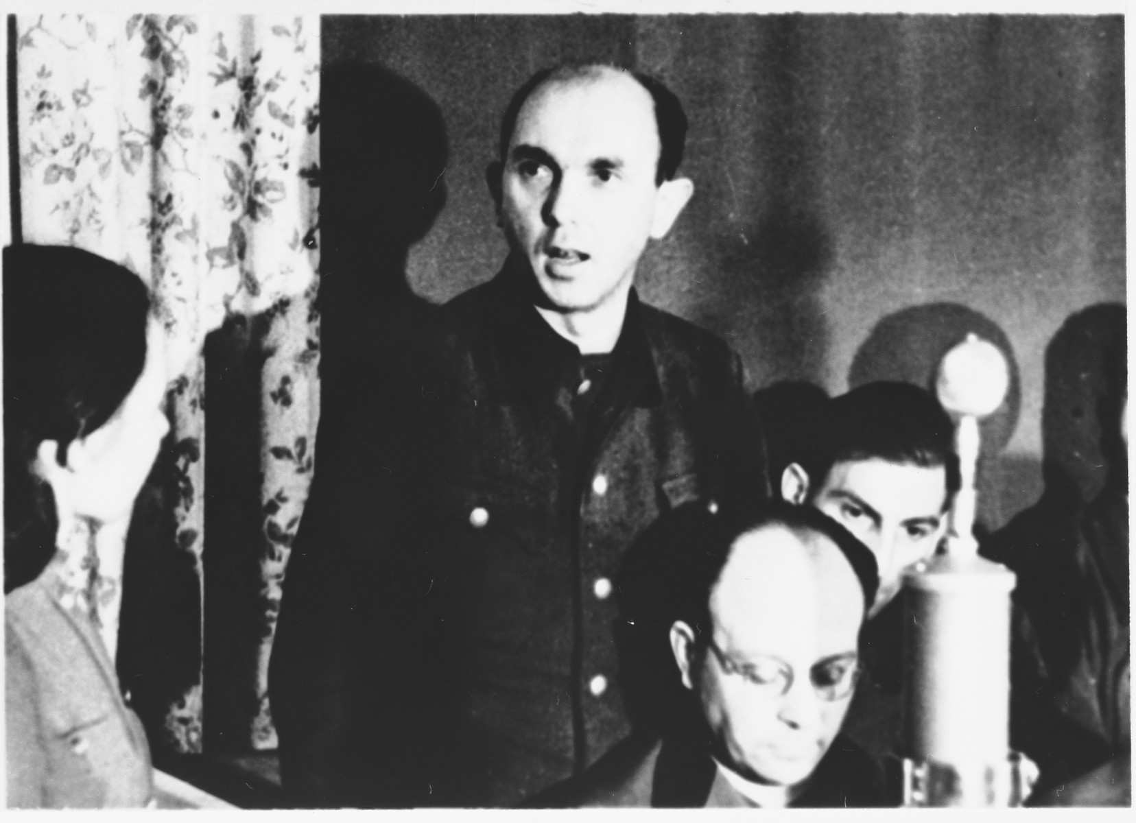 Defendant Horst Hempel at the Sachsenhausen concentration camp war crimes trial in Berlin.