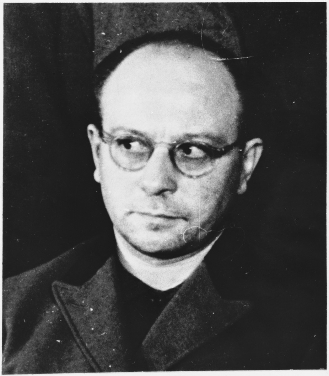 Defendant Anton Kaindl at the Sachsenhausen concentration camp war crimes trial in Berlin.