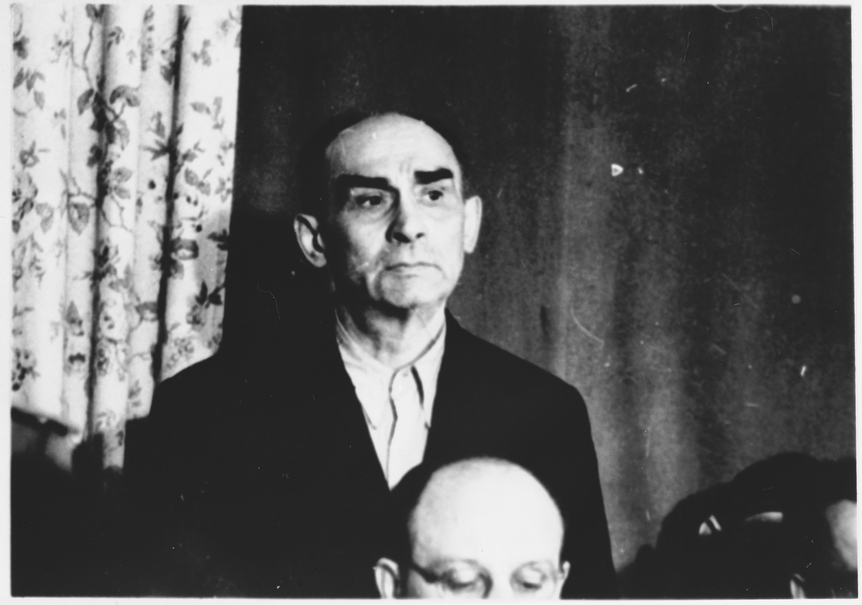 Defendant Karl Zander at the Sachsenhausen concentration camp war crimes trial in Berlin.
