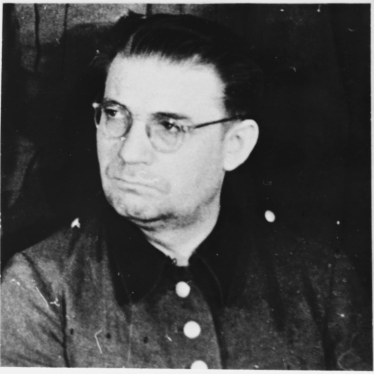Defendant Kurt Eccarius at the Sachsenhausen concentration camp war crimes trial in Berlin.