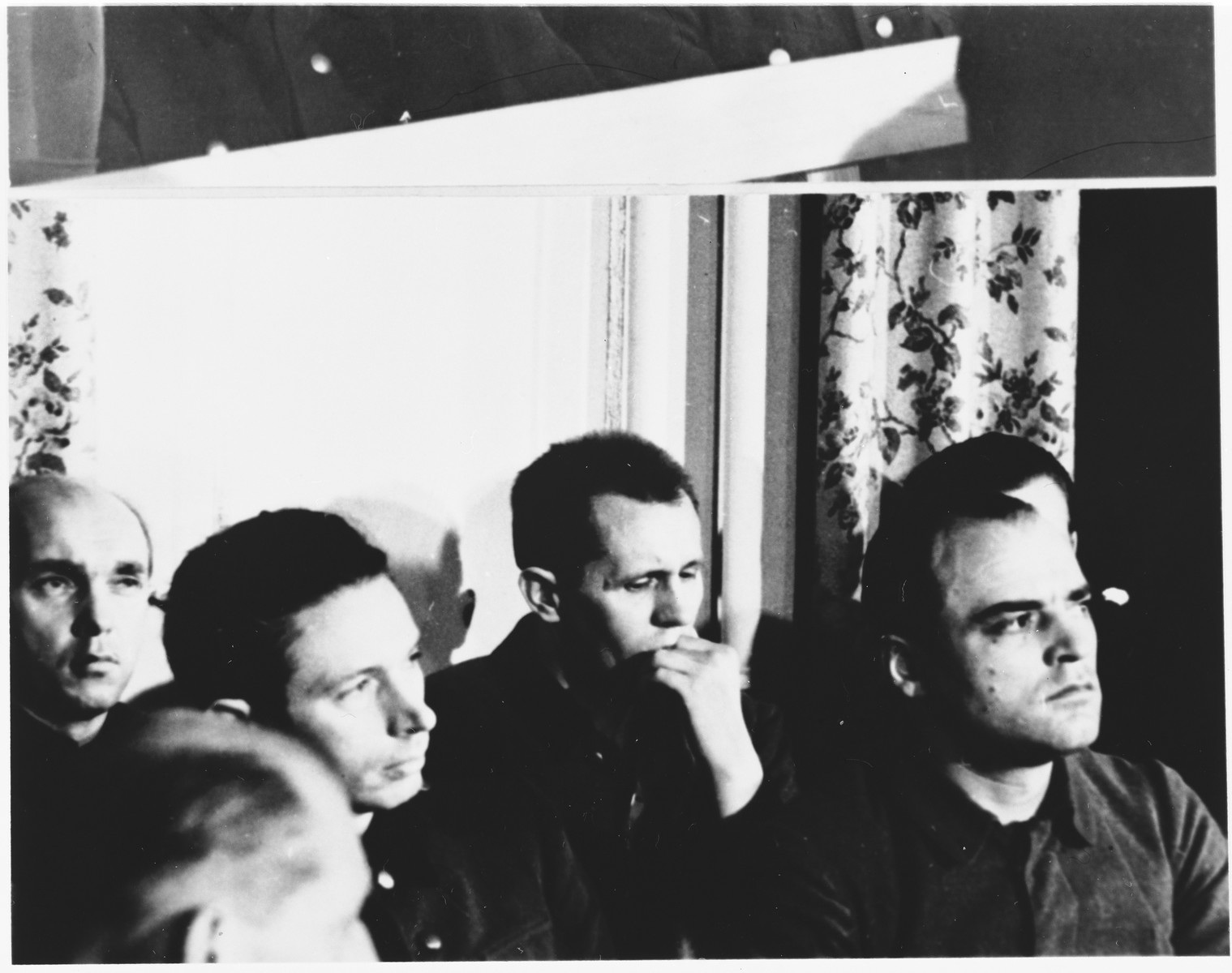 Defendants in the dock at the Sachsenhausen concentration camp war crimes trial in Berlin.   From left to right are: Menne Saathoff, Heinz (Heinrich Friedrich) Baumkoetter, Paul Sakowski, and Ludwig Rehn.