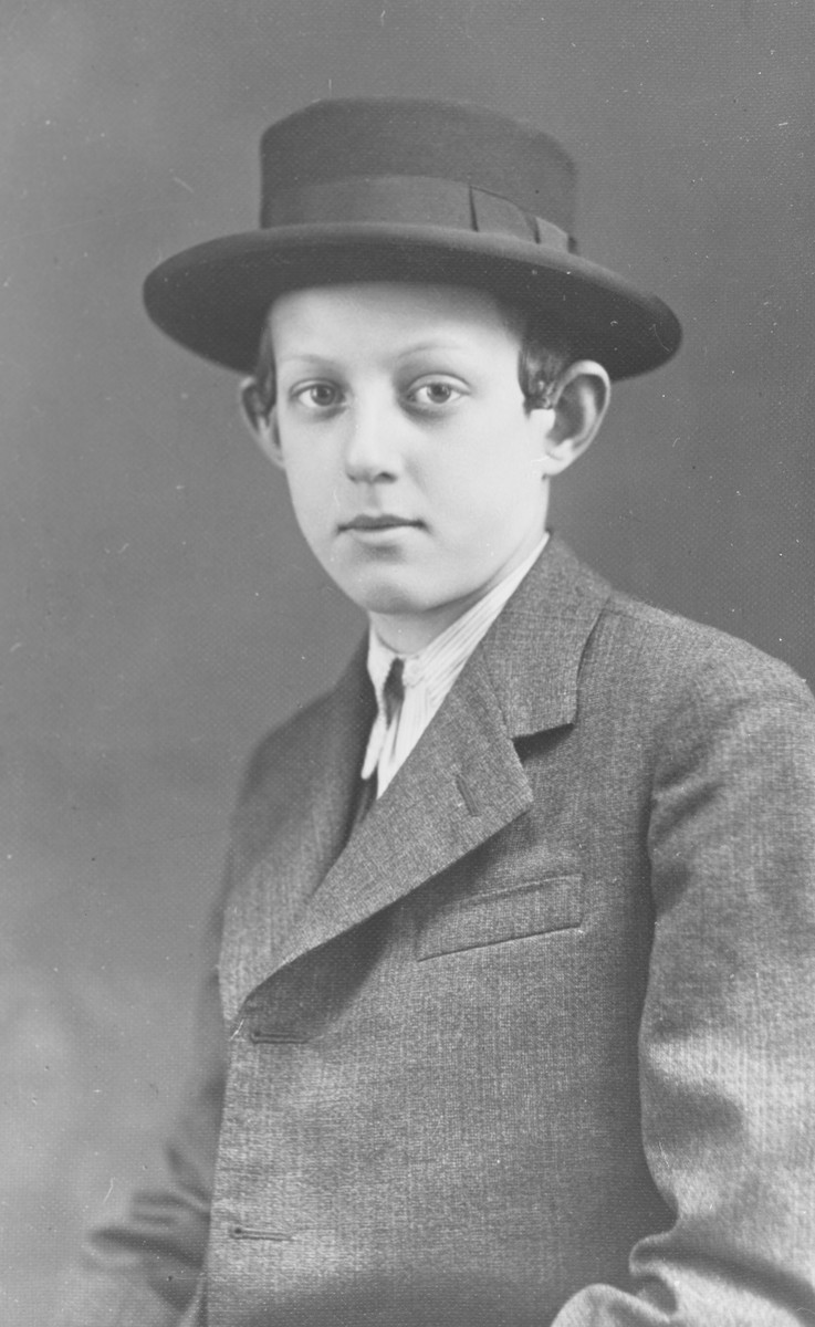 Bar Mitzvah portrait of a religious Jewish youth in Mukachevo.  Pictured is Ansel Grunberger,