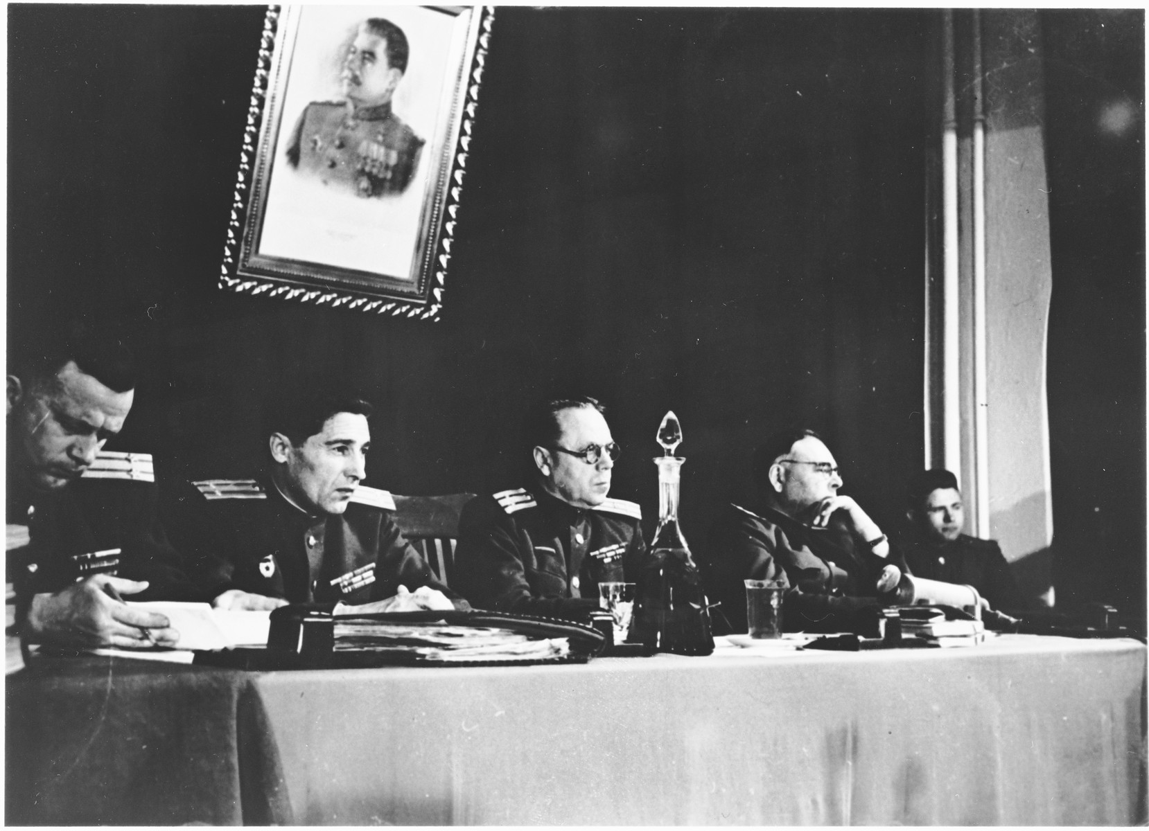 The Soviet Military Tribunal at the Sachsenhausen concentration camp war crimes trial in Berlin.
