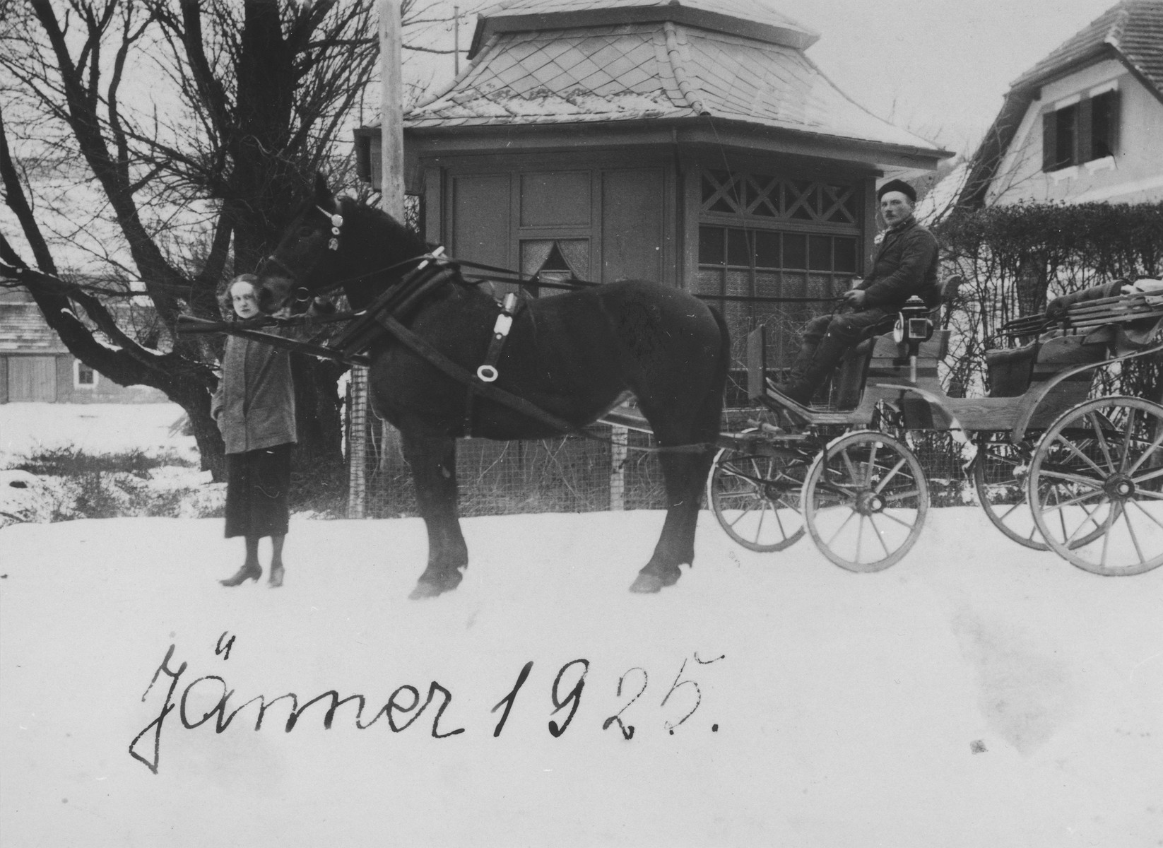 Dr. Adolf Huber drives the horse-drawn carriage he uses to make house calls.  His daughter Irenka stands beside the horse.  Irenka survived WWII in hiding in Hungary.