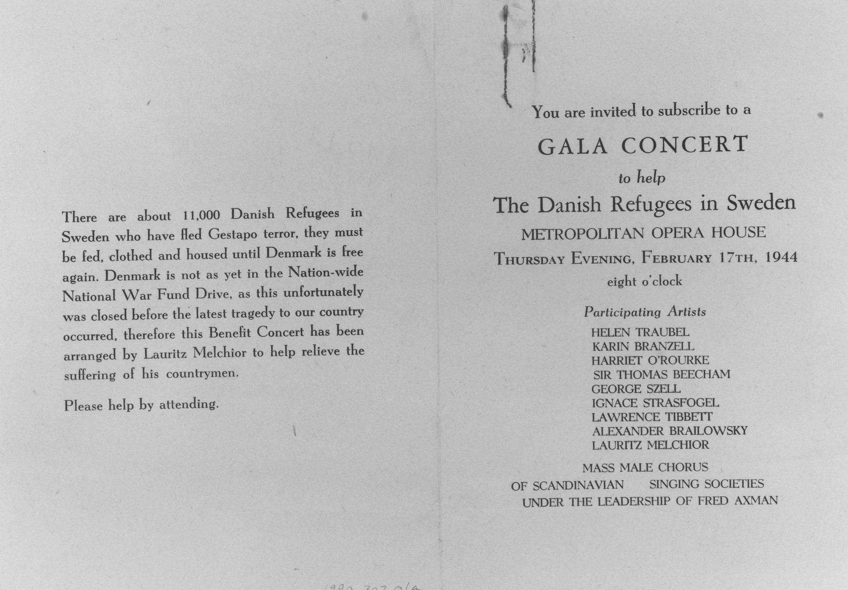 Outside pages of an invitation to a gala concert at the Metropolitan Opera House to aid Danish refugees in Sweden.