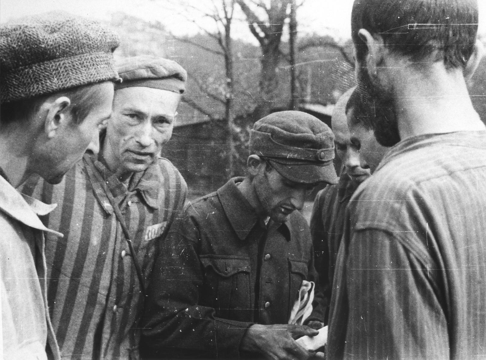 Survivors in an unidentified camp Langenstein-Zwieberge, a sub-camp of Buchenwald, soon after liberation.