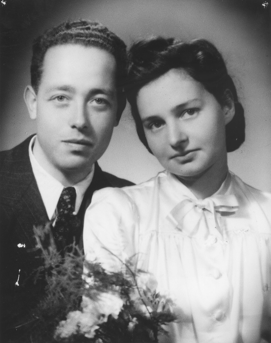 Wedding portrait of a Jewish refugee couple in Shanghai.  Pictured are Fritz Huber, the first cousin of Eliska (Huberova) Deutsch, and his bride Lauri from Berlin.