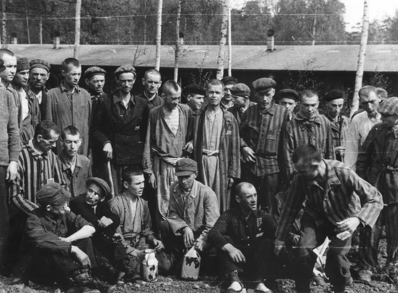 Group portrait of survivors in Langenstein-Zwieberge, a sub-camp of Buchenwald.