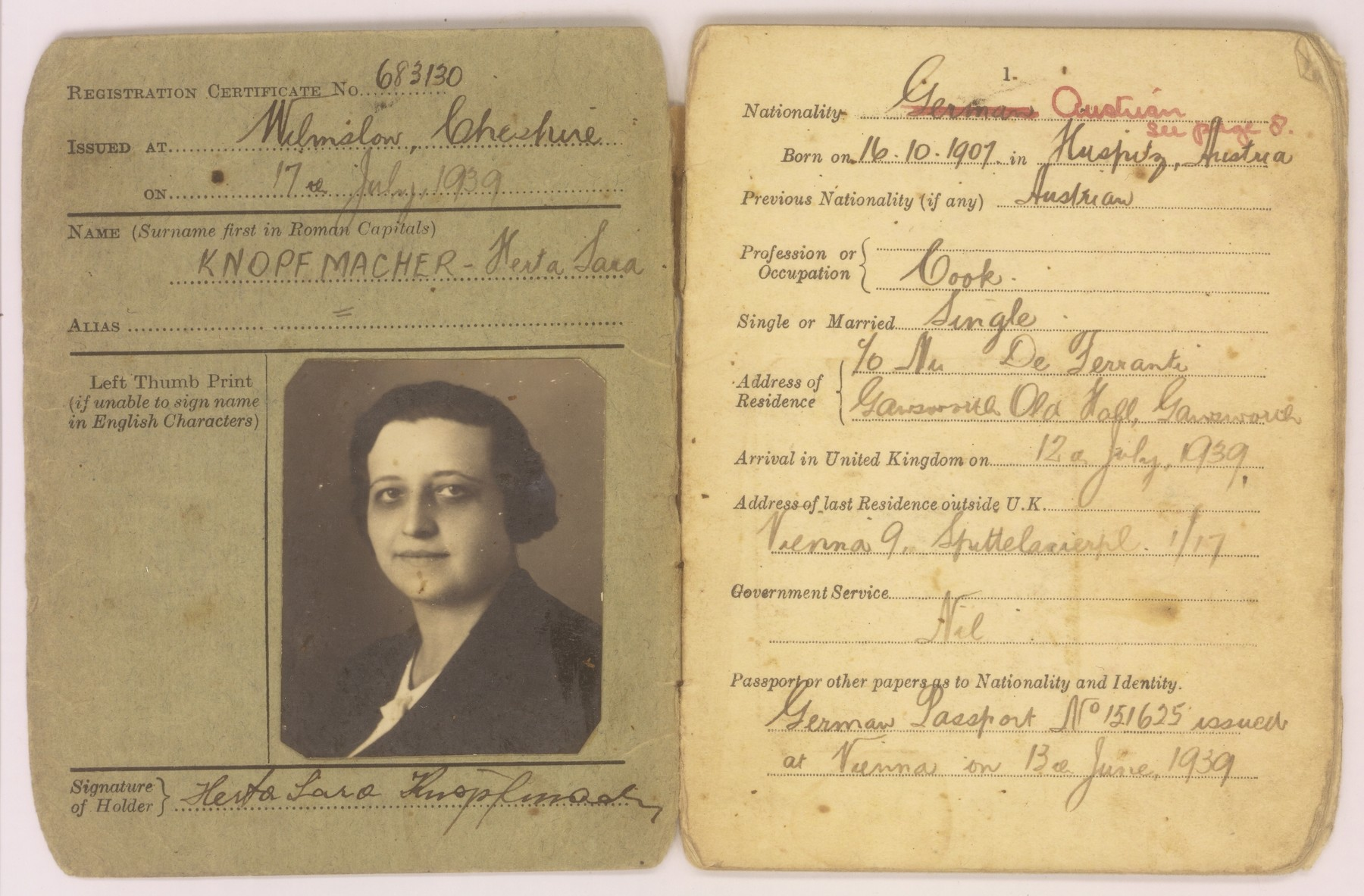 Alien Certificate of Registration issued to Herta Knopfmacher.  This certificate allowed Herta Knopfmacher, an Austrian Jew, to enter Great Britain as a refugee from Hitler on condition that she not seek any employment other than domestic service.  The certificate had to be stamped by the local police department each time she changed residences.  The final stamp marks her departure to the United States in 1946.