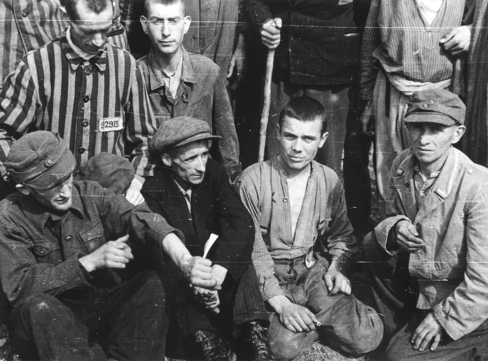 Group portrait of survivors in Langenstein-Zwieberge, a sub-camp of Buchenwald, soon after liberation.