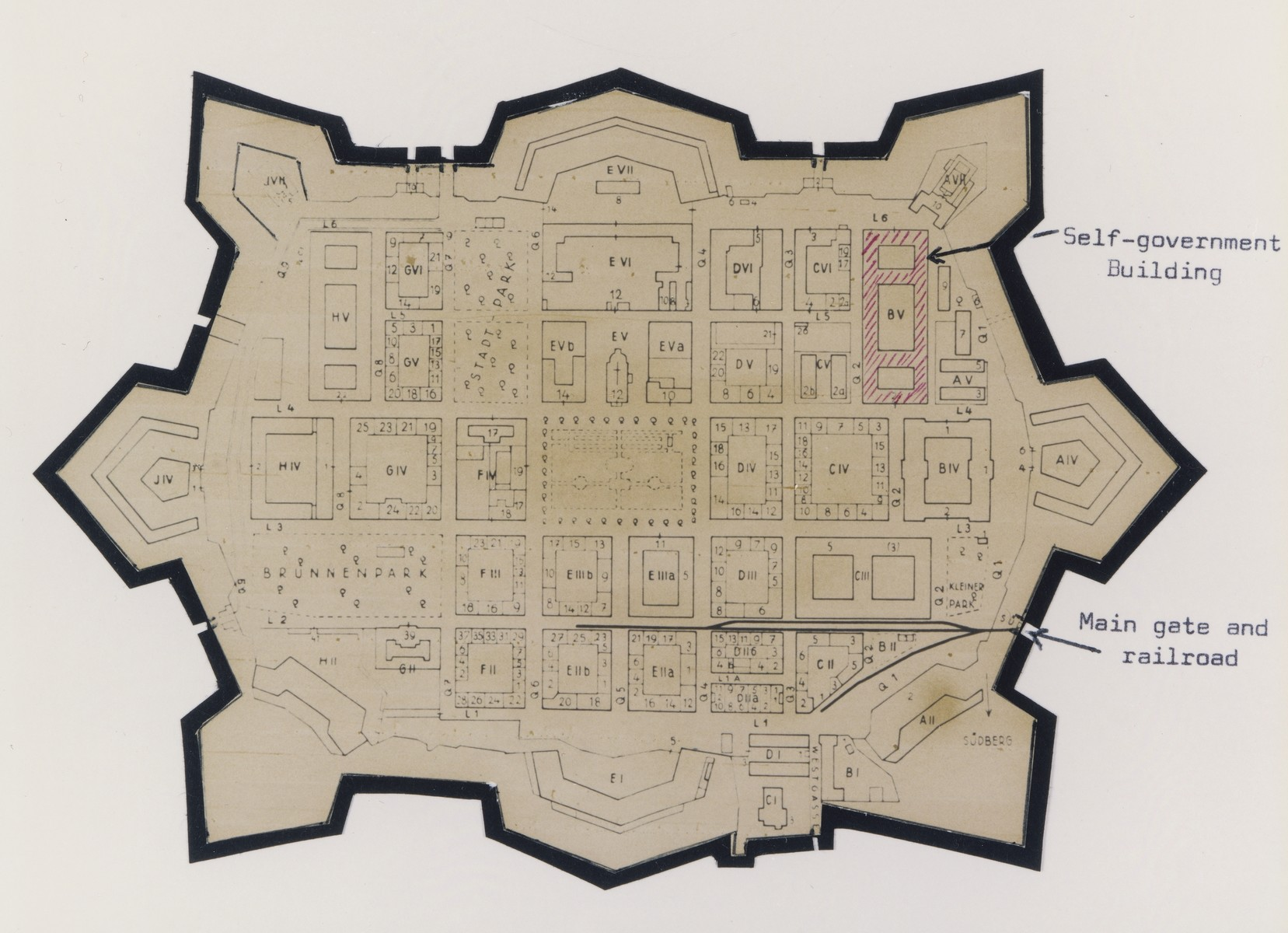 Map of Theresienstadt that was cut out of an original document and mounted on black paper in an album assembled by a survivor.