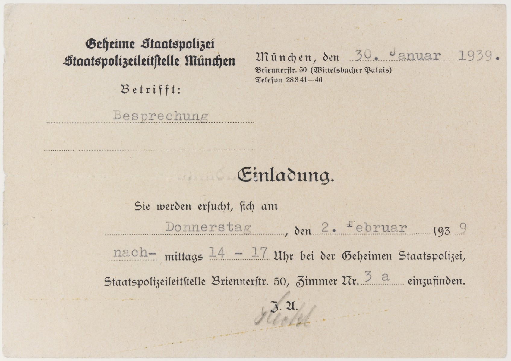 "Postcard from the Gestapo (Secret State Police) in Munich summoning the recipient to report for an interview on February 2, 1939.  According to the donor, the purpose of the summons was to ""facilitate"" emigration from Germany."