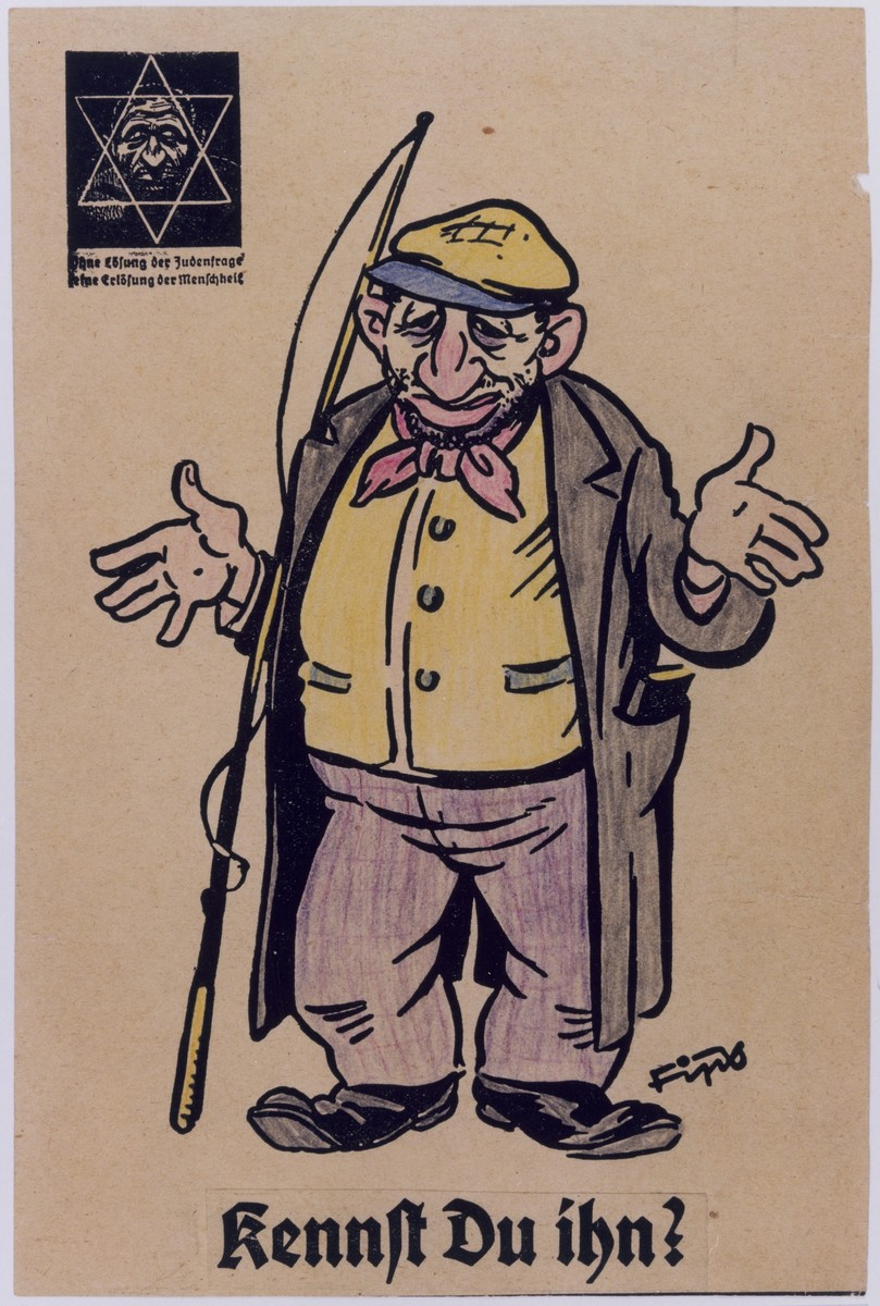 "One page of an anti-Semitic coloring book with a portrait of a Jew drawn by the German caricaturist known as Fips.  The caricature has been colored in. The caption at the bottom of the page reads: ""Do you know him?""  In the upper left hand corner is the Der Stürmer logo featuring a Star of David superimposed over a caricature of a Jewish face.  The caption under the star reads:  ""Without a solution to the Jewish question, there will be no salvation for mankind."""
