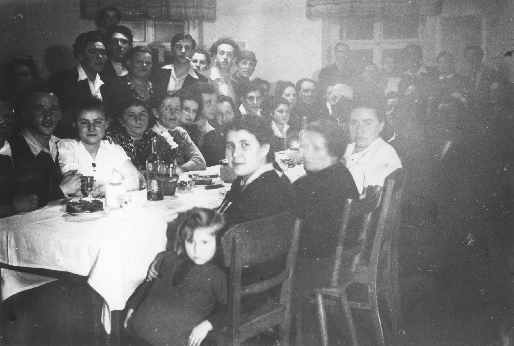Jewish DPs gather for a Sabbath meal at the Schauenstein displaced persons camp for children.