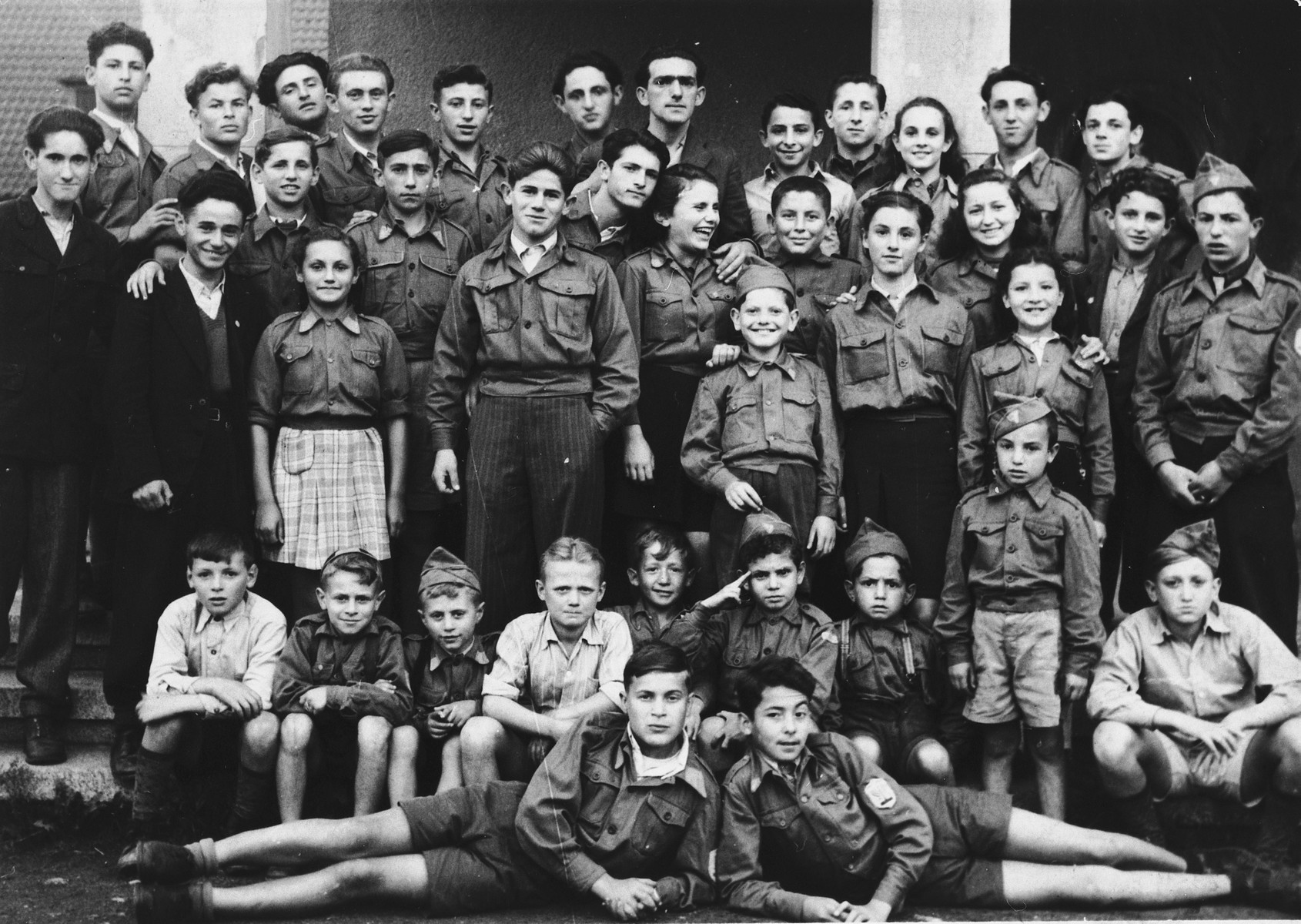 Group portrait of the Betar Zionist youth group in the Eschwegedisplaced person' camp.