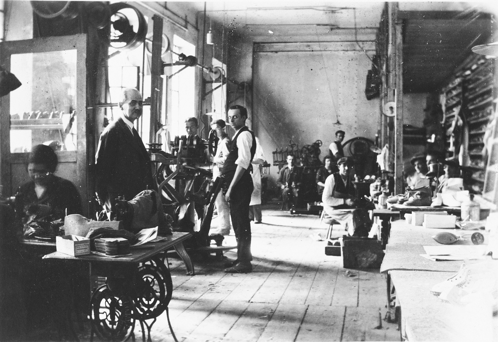 Interior of a shoe-making workshop in Hungary.