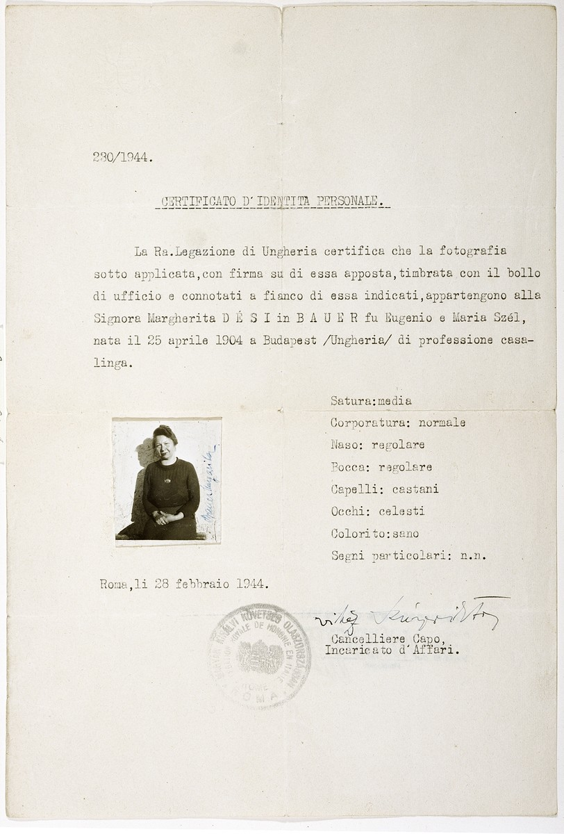 False papers issued to Marianne Uhrmacher while she was in hiding in Italy.
