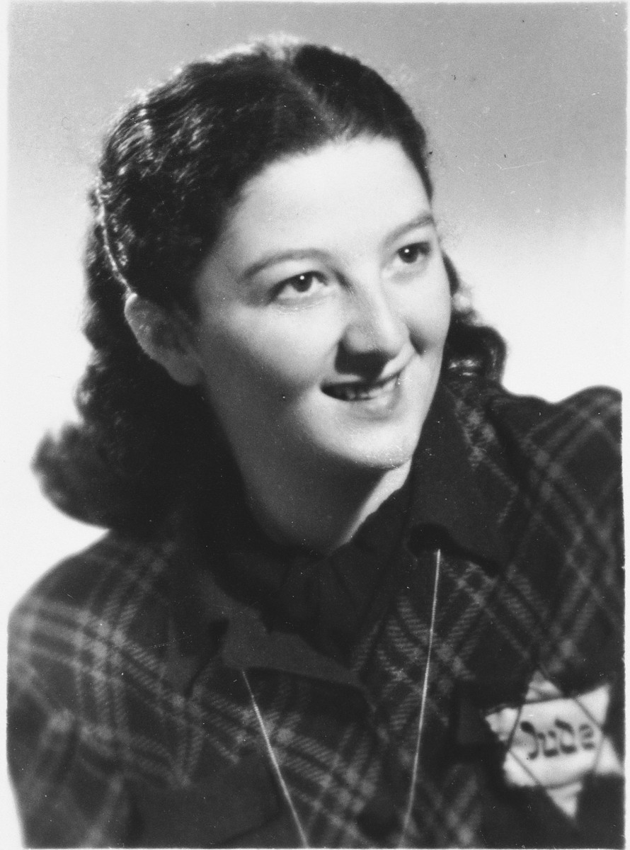 Portrait of a young Jewish woman wearing the yellow star in Prague during World War II.  Pictured is Olga Dubb.  Olga's family were close friends of the Fuchs'.  Olga lived with the Fuchs family while studying to become a dressmaker.