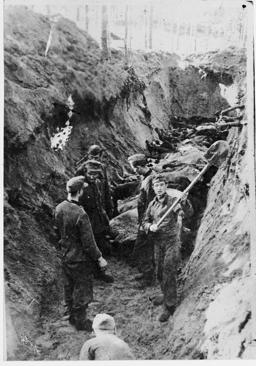 German POWs bury the corpses of Klooga prisoners.