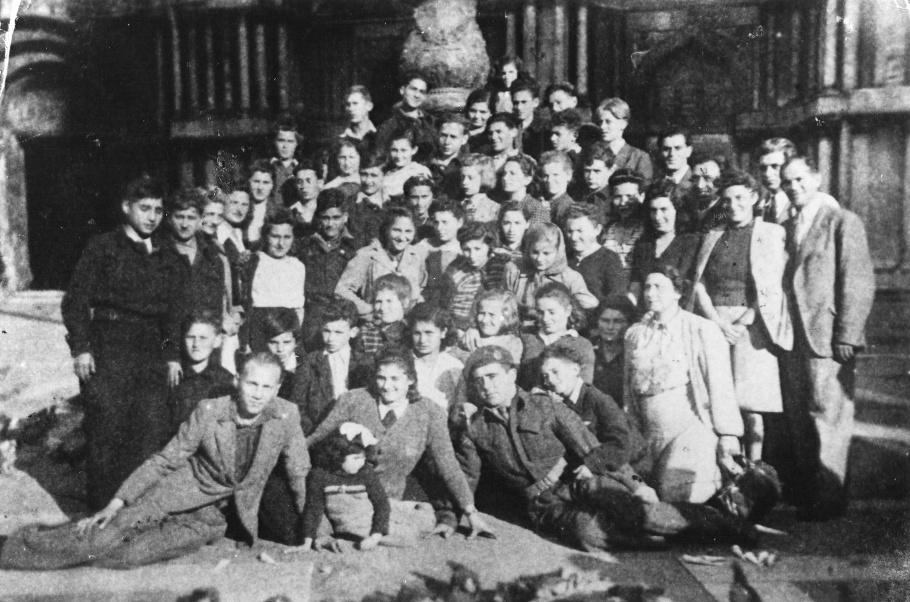 Group portrait of children and staff in Selvino.