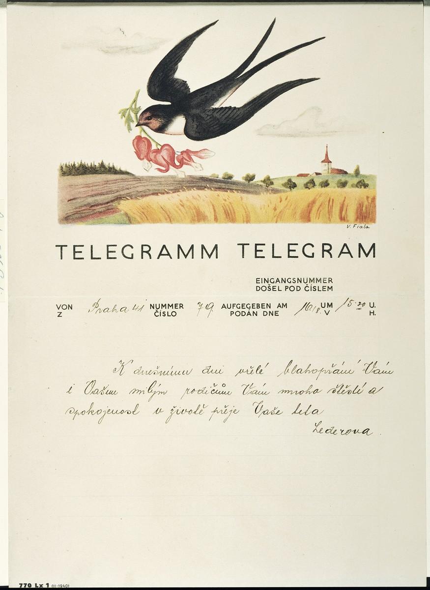 Decorative telegram congratulating a Czech Jewish couple, Blanka and Pavel Heller, on their wedding.