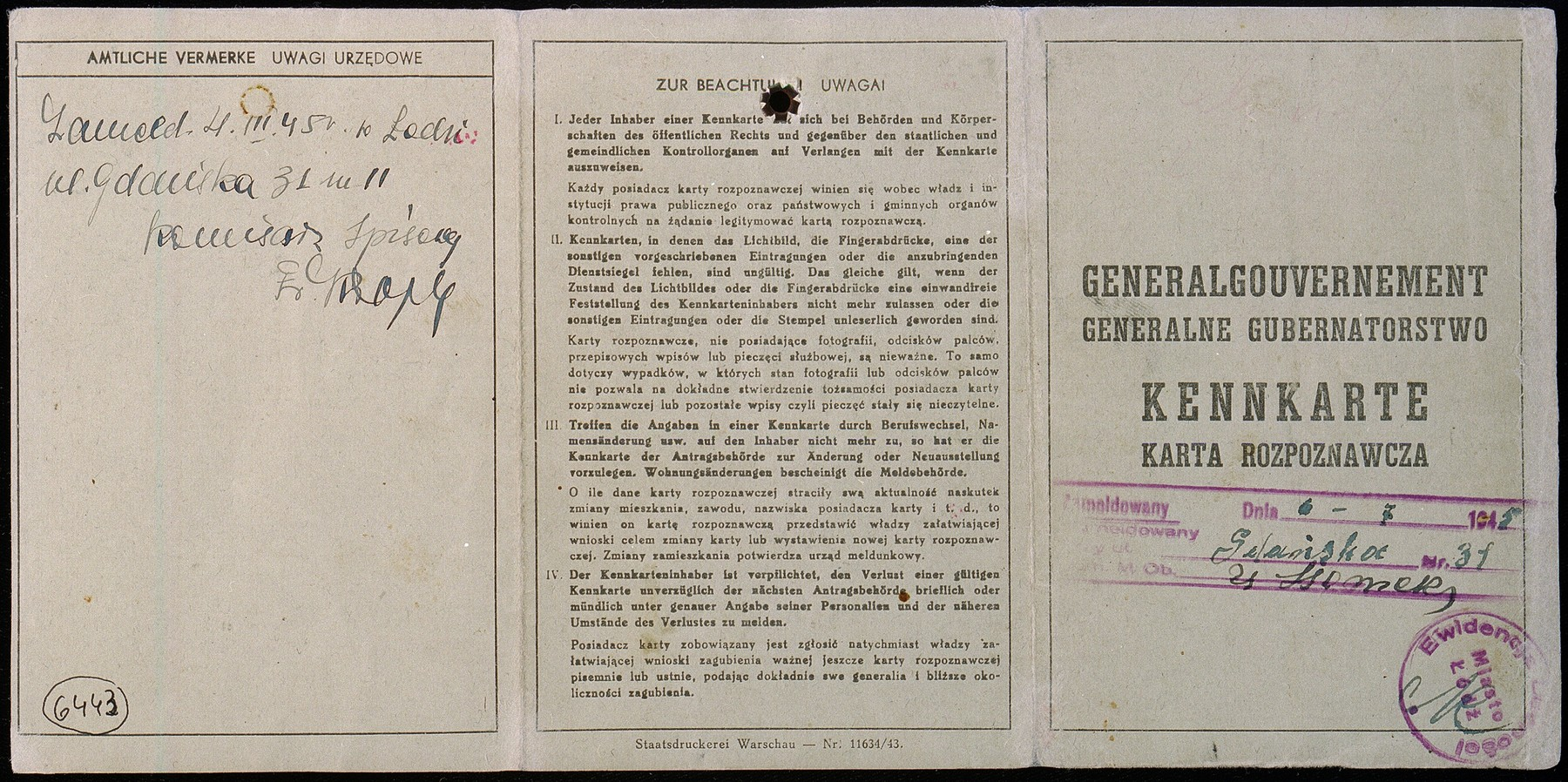 False identification card issued in name of Stanislawa Wachalska, that was used by Feigele Peltel (now Vladka Meed) while serving as a courier for the Jewish underground in Warsaw.
