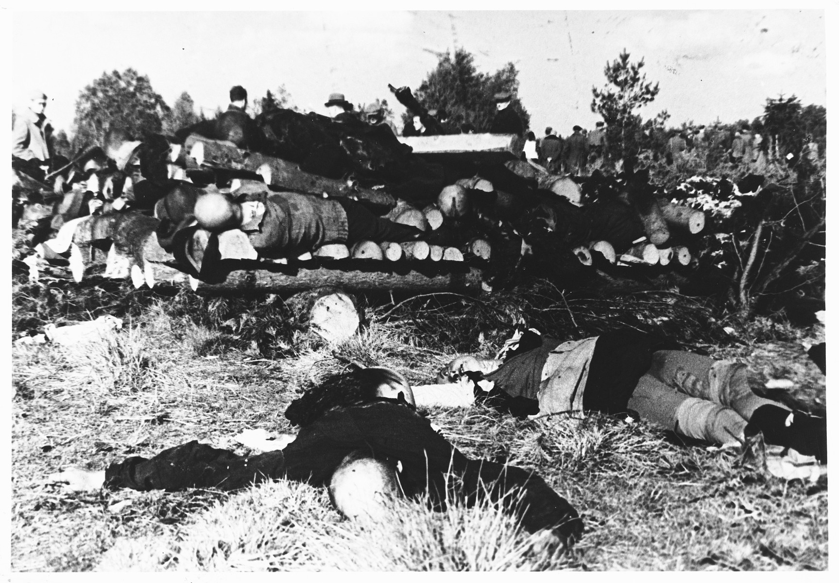 Soviet soldiers observe recently burned corpses stacked on sawed lumber on the grounds of the Klooga concentration camp.