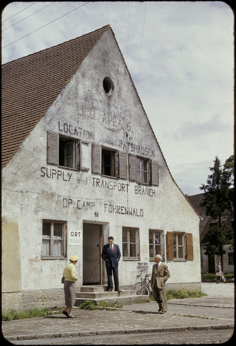 Exterior view of the ORT supply and transport building in the Foehrenwald displaced persons camp.  This slide was taken by David Rosenstein during his inspection tour of the camp.
