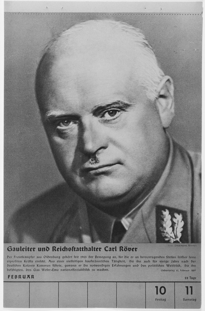 Portrait of Gauleiter und Reichsstatthalter Carl Roever.  One of a collection of portraits included in a 1939 calendar of Nazi officials.