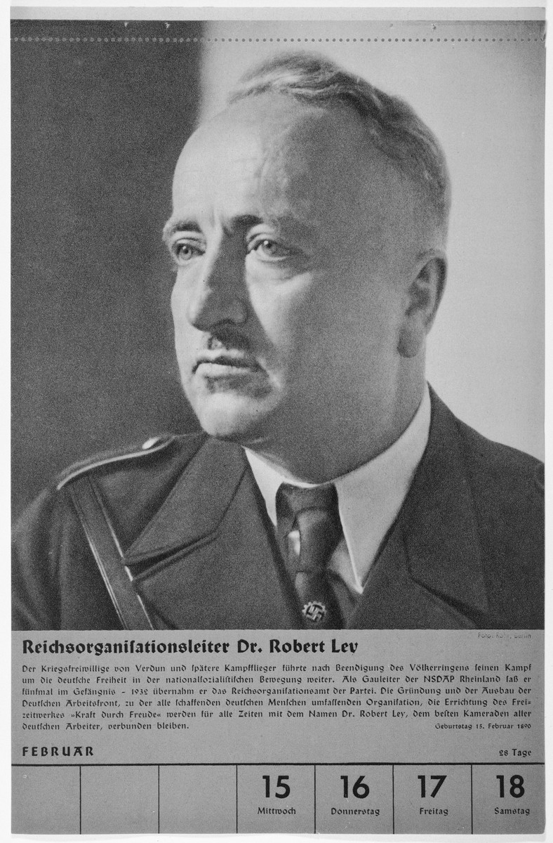 Portrait of Reichsorganisationsleiter Dr. Robert Ley.  One of a collection of portraits included in a 1939 calendar of Nazi officials.