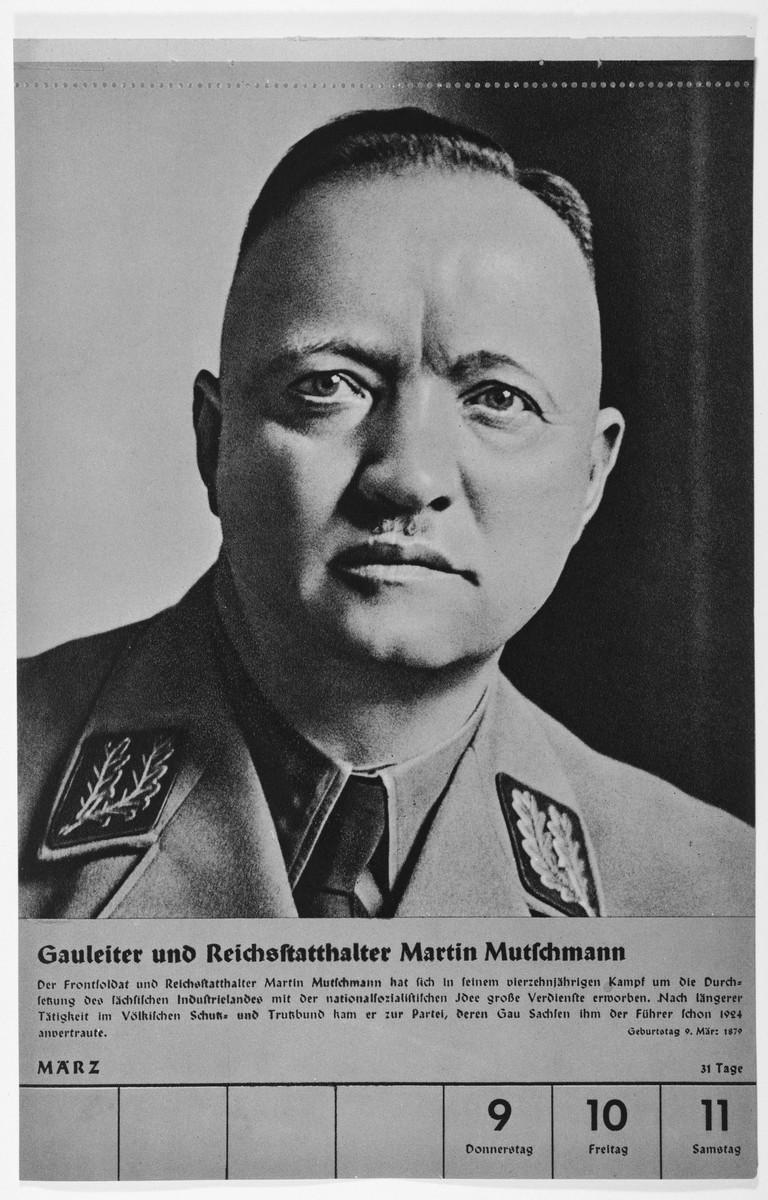 Portrait of Gauleiter und Reichsstatthalter Martin Mutschmann.  One of a collection of portraits included in a 1939 calendar of Nazi officials.