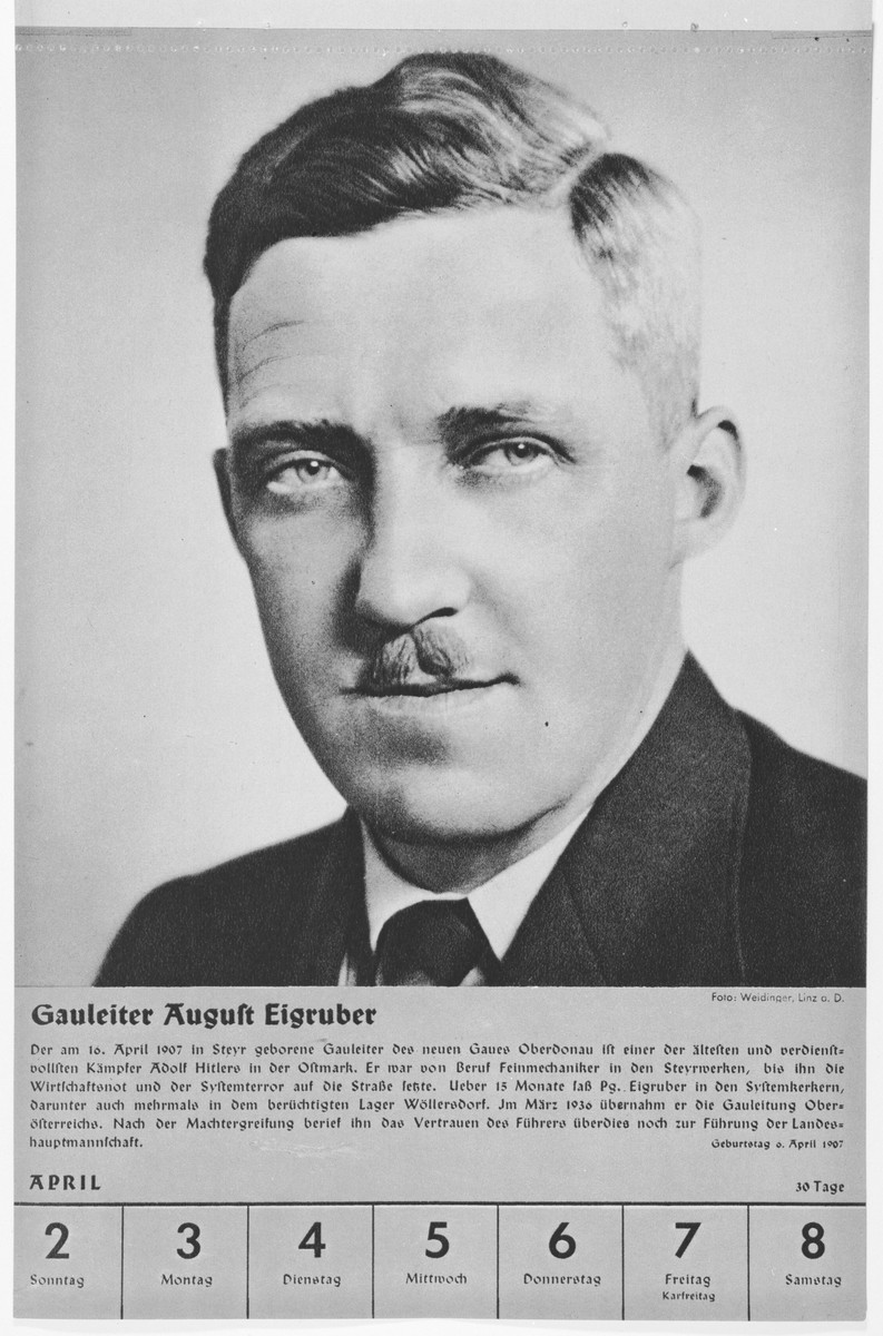 Portrait of Gauleiter August Eigruber.  One of a collection of portraits included in a 1939 calendar of Nazi officials.