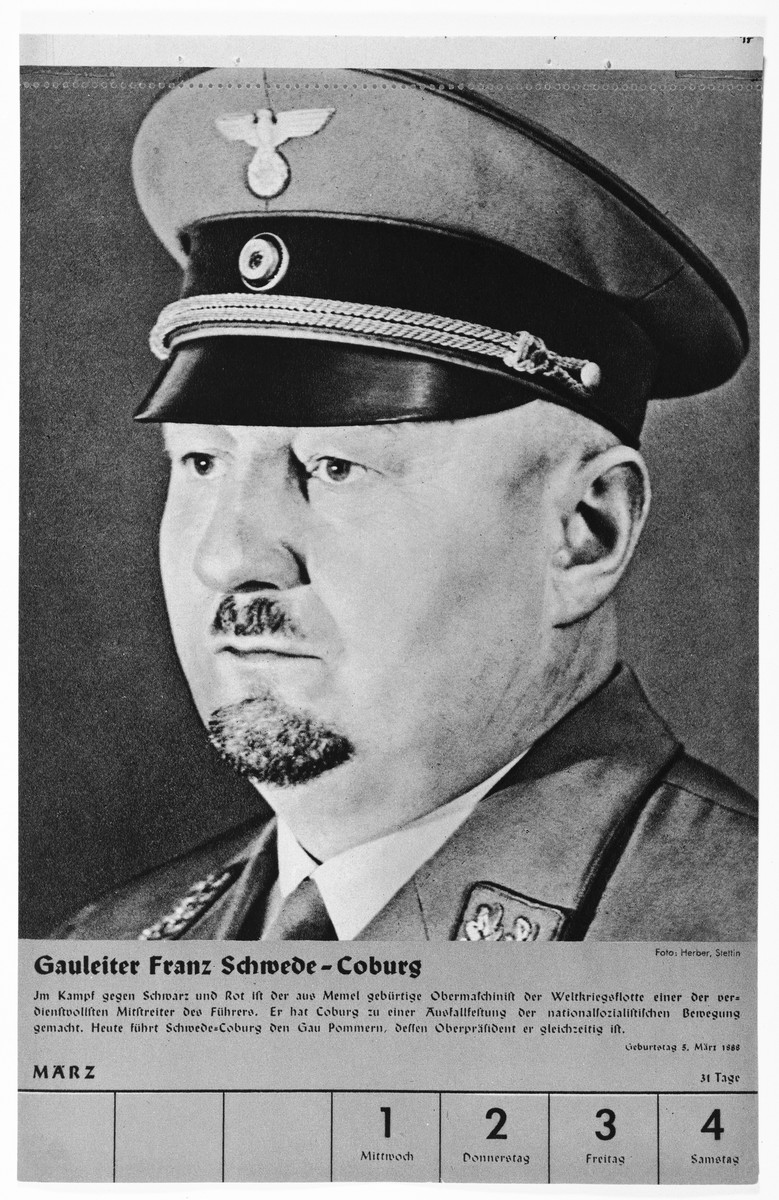 Portrait of Gauleiter Franz Schwede-Coburg.  One of a collection of portraits included in a 1939 calendar of Nazi officials.