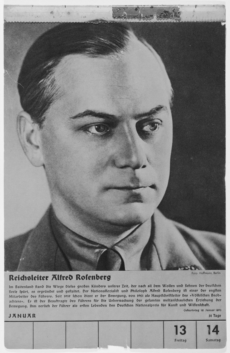 Portrait of Reichsleiter Alfred Rosenberg.  One of a collection of portraits included in a 1939 calendar of Nazi officials.