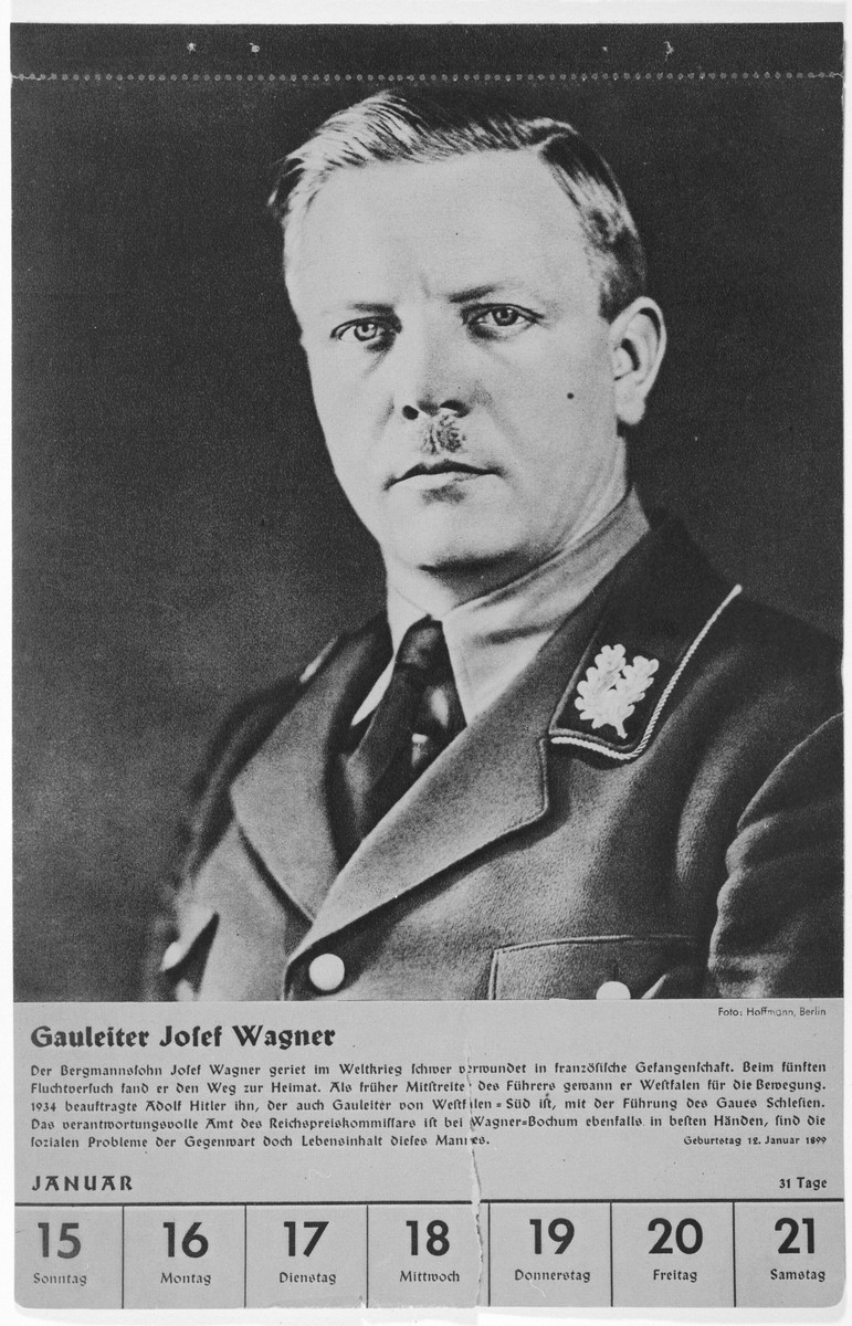 Portrait of Gauleiter Josef Wagner.  One of a collection of portraits included in a 1939 calendar of Nazi officials.