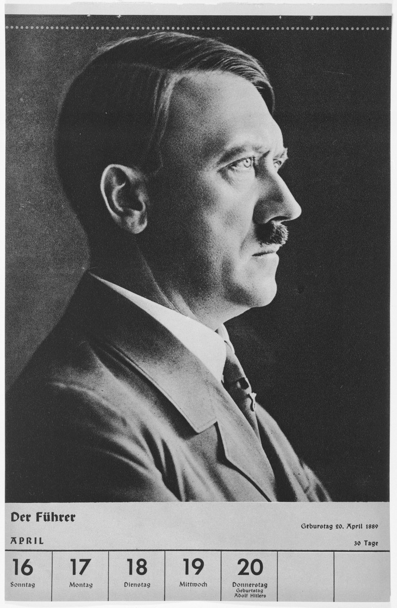 Portrait of Adolf Hitler.  One of a collection of portraits included in a 1939 calendar of Nazi officials.