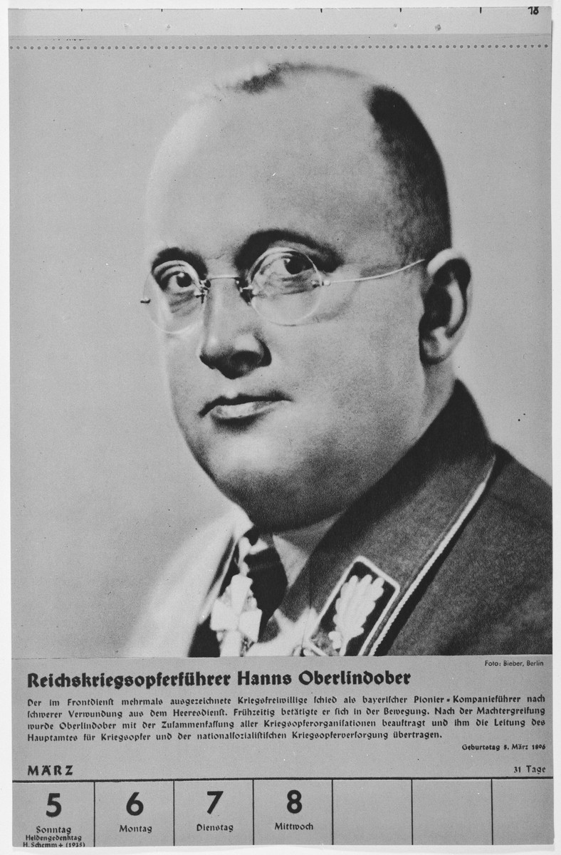 Portrait of Reichskriegsopferfuehrer Hanns Oberlindober.  One of a collection of portraits included in a 1939 calendar of Nazi officials.