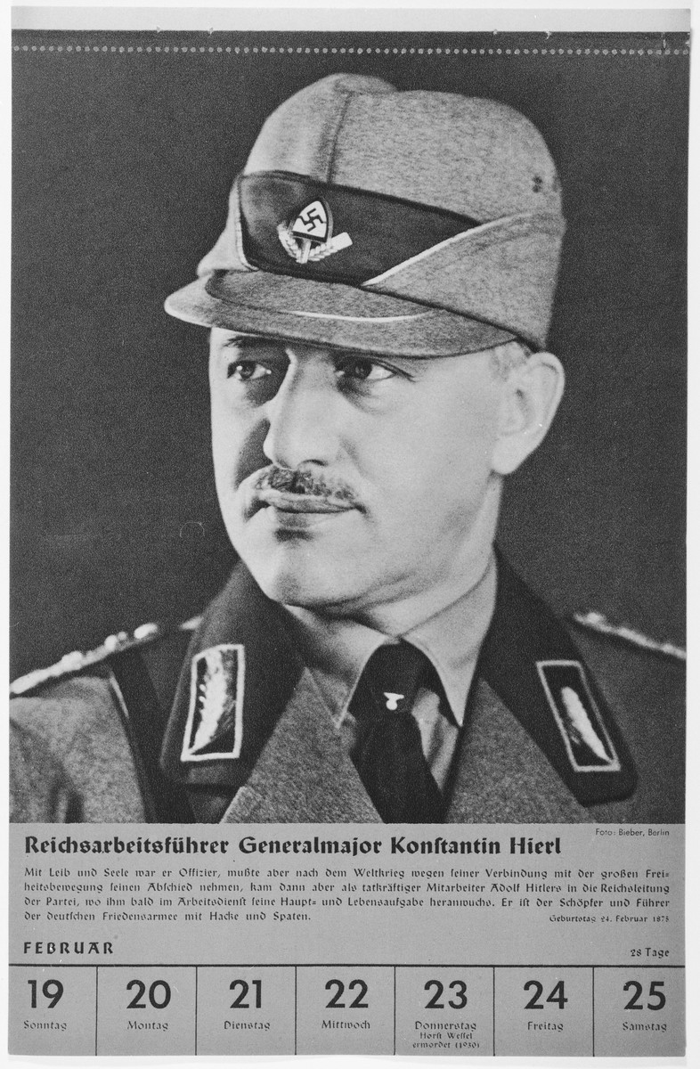 Portrait of Reichsarbeitsfuehrer Generalmajor Konstantin Hierl.  One of a collection of portraits included in a 1939 calendar of Nazi officials.