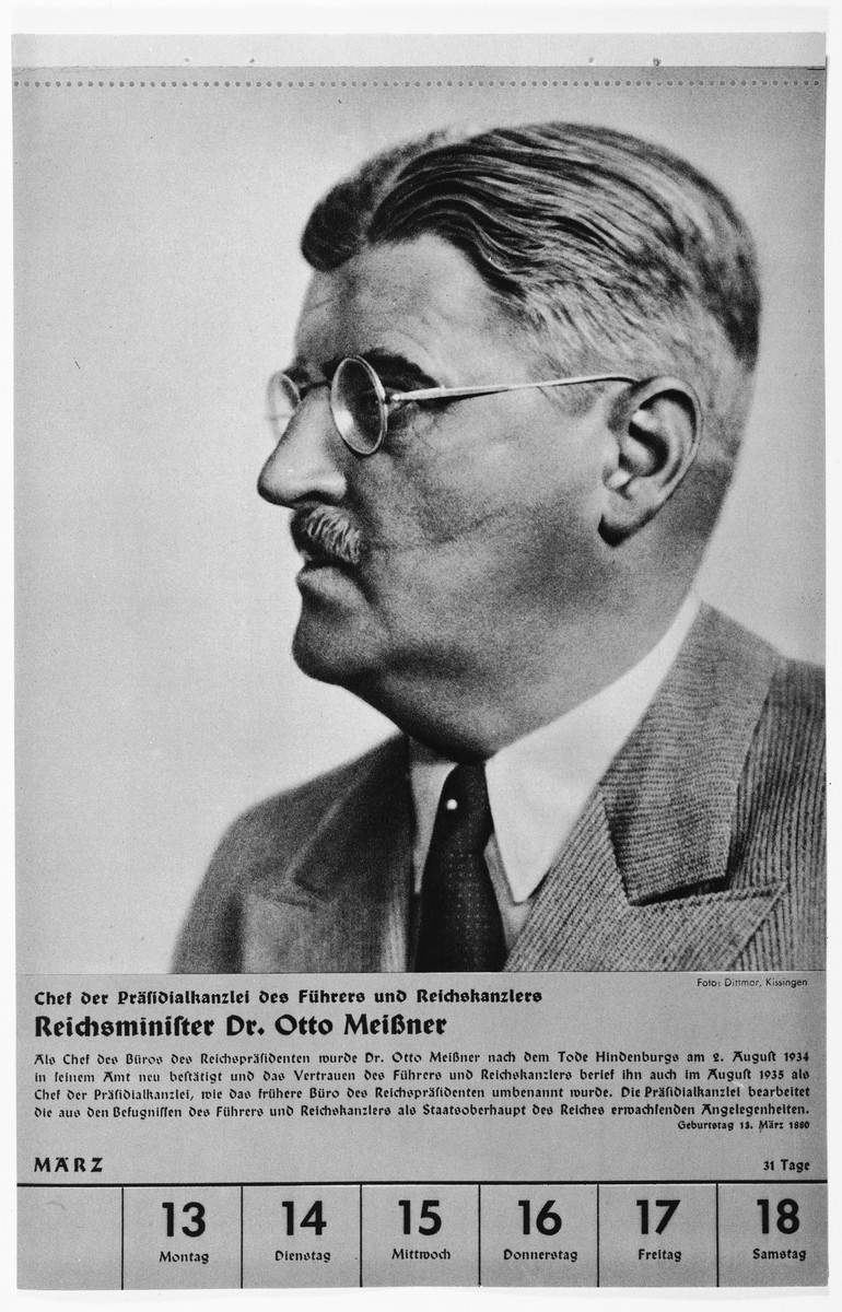 Portrait of Reichsminister Dr. Otto Meissner.  One of a collection of portraits included in a 1939 calendar of Nazi officials.
