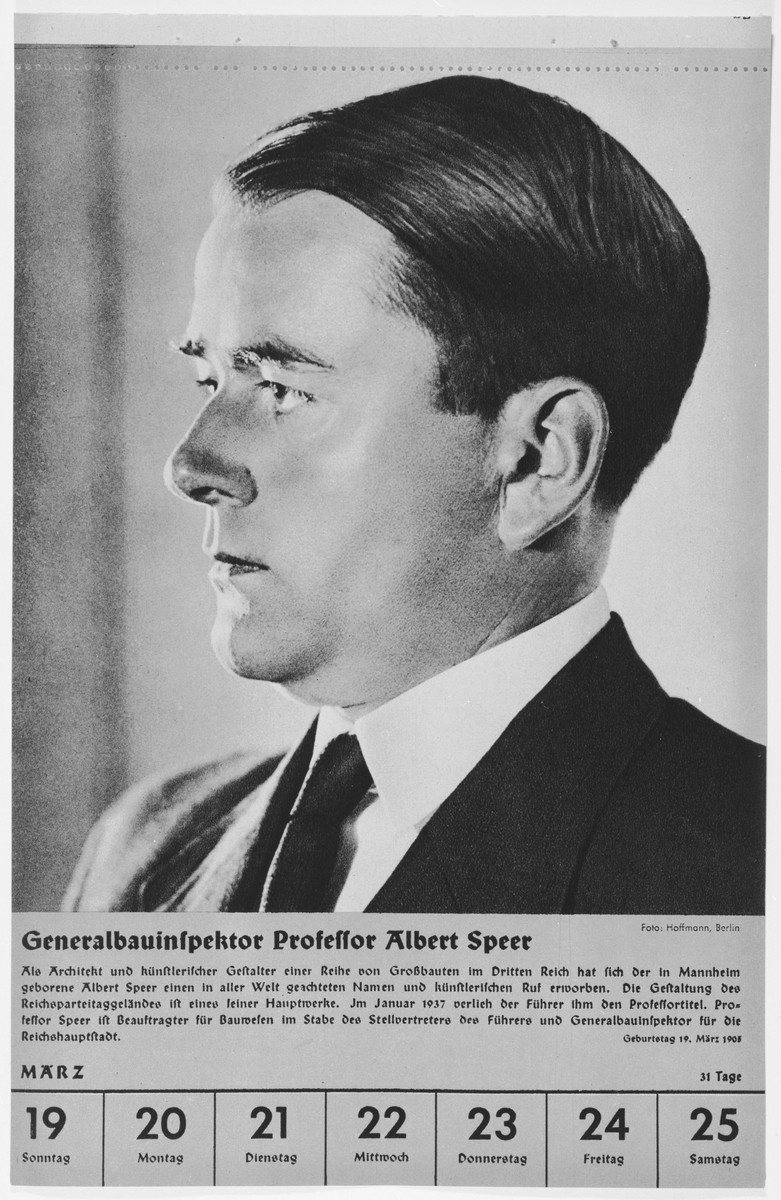 Portrait of Albert Speer.  One of a collection of portraits included in a 1939 calendar of Nazi officials.