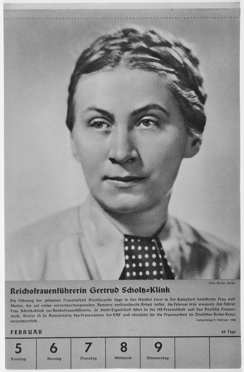 Portrait of Reichsfrauenfuehrerin Gertrud Scholz-Klink.  One of a collection of portraits included in a 1939 calendar of Nazi officials.