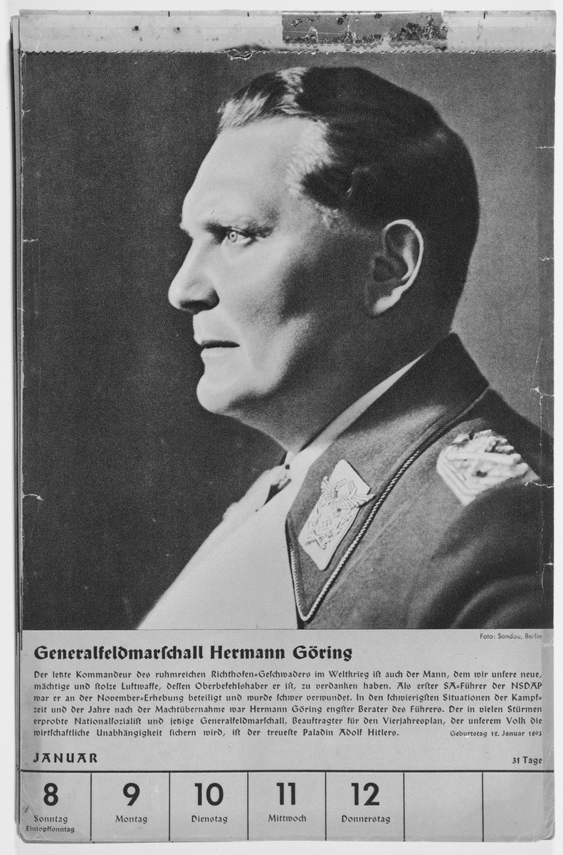 Portrait of Generalfeldmarschall Hermann Goering.  One of a collection of portraits included in a 1939 calendar of Nazi officials.