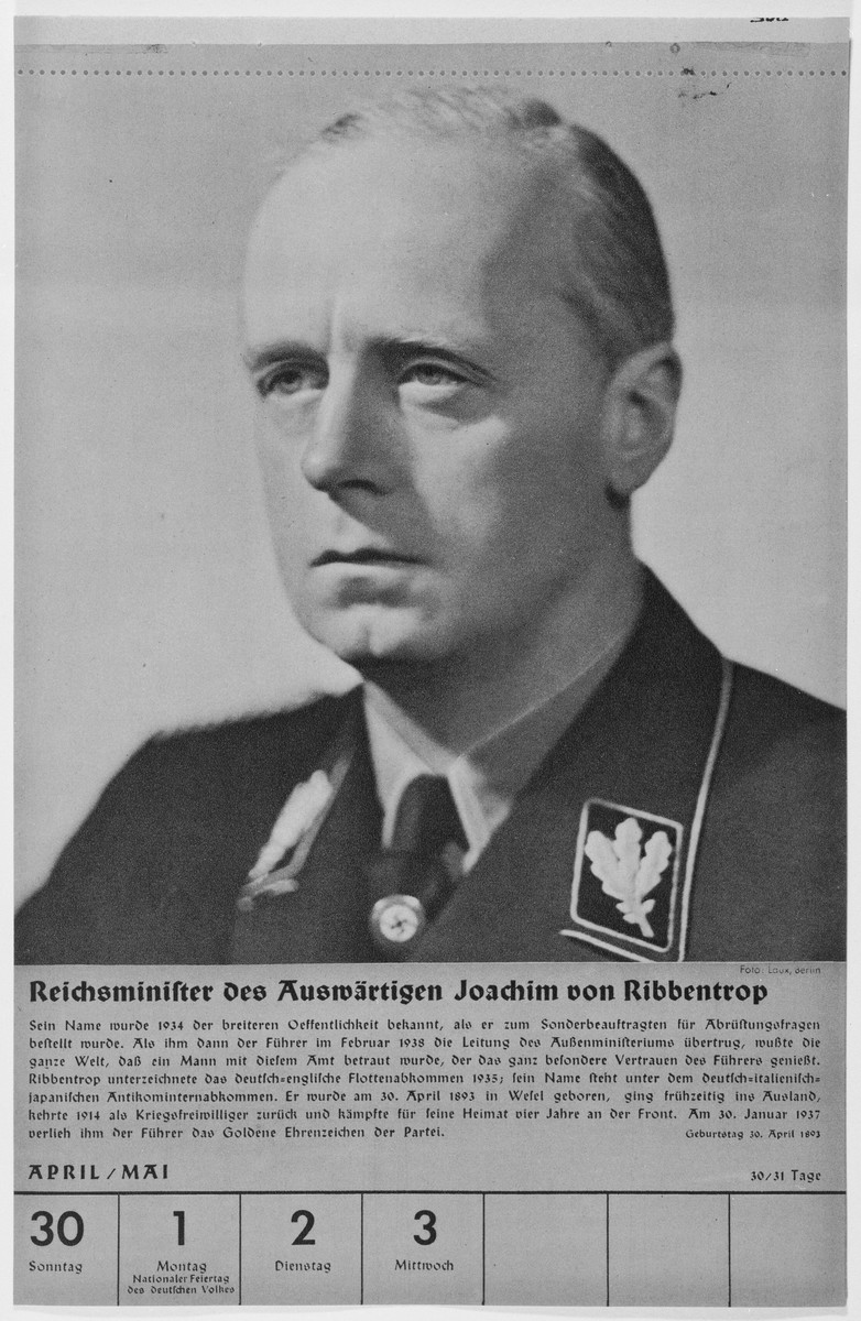 Portrait of Reichsminister Joachim von Ribbentrop.  One of a collection of portraits included in a 1939 calendar of Nazi officials.